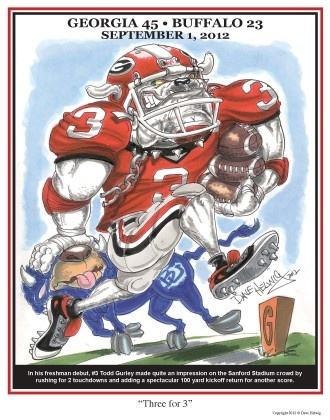 Dave Helwig 'Three for 3' print featuring Todd Gurley scoring three TDs in his first ever game for UGA. Available at BetweenTheHedgesShop.com $20