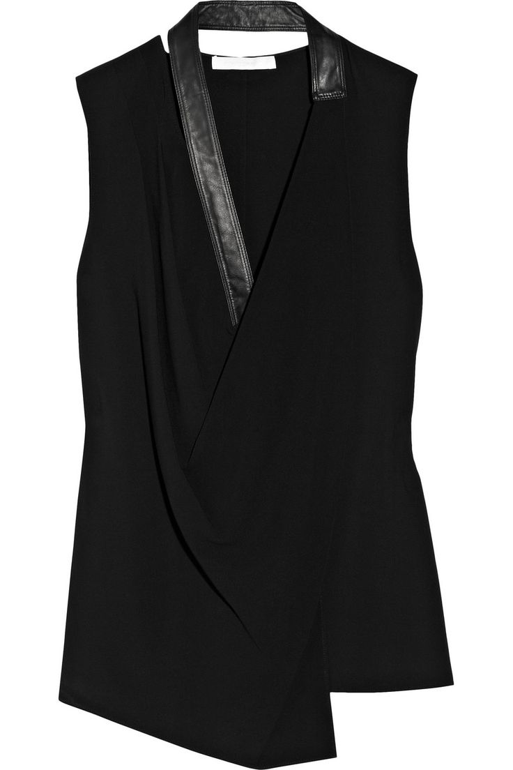 Leather-trimmed stretch-knit top by Alexander Wang