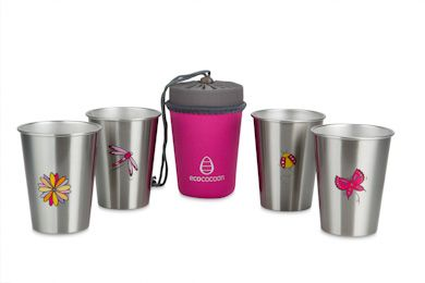 NEW 4 cup set from ecococoon - ENCHANTED GARDEN...complete with Daisy, Dragonfly, Ladybeetle and Butterfly illustrated cups and Pink Tourmaline cup cuddler (for storing or travel). RRP $44.95