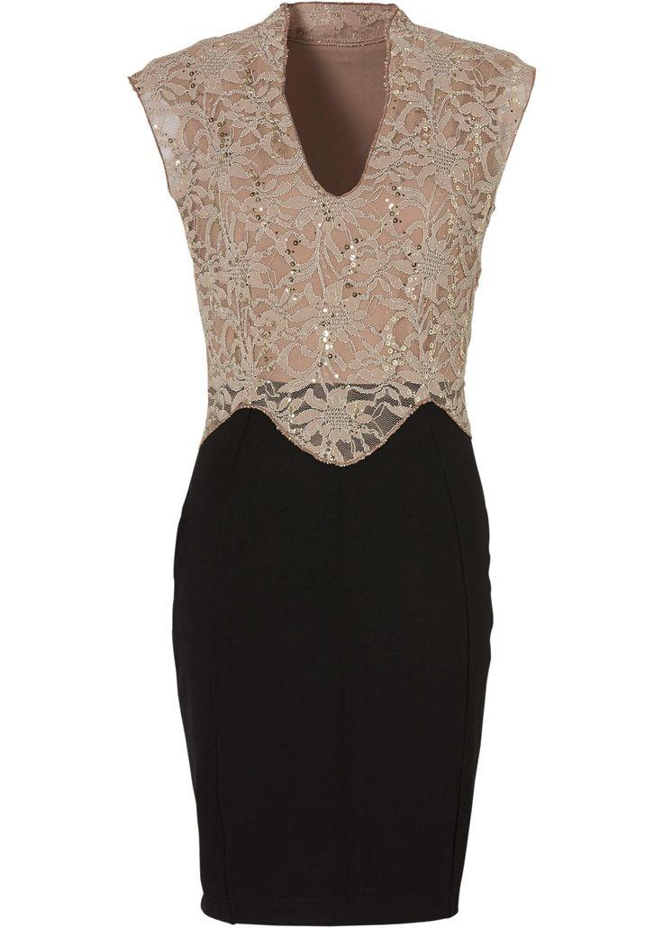 Kleid schwarz/beige - BODYFLIRT boutique jetzt im Online Shop von bonprix.de ab ? 39,99 bestellen. Immer perfekt angezogen! Stylishes ärmelloses Kleid mit ...
