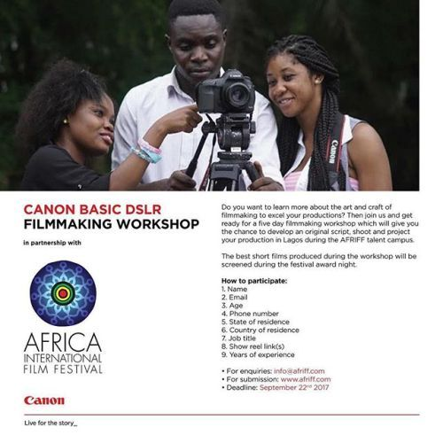Take your first steps into filmmaking by registering for our basic DSLR filmmaking workshop in Lagos Nigeria. Register yourself until 22 September. #CanonCNA #CANONAFRIFF #TalentOfAfrica via Canon on Instagram - #photographer #photography #photo #instapic #instagram #photofreak #photolover #nikon #canon #leica #hasselblad #polaroid #shutterbug #camera #dslr #visualarts #inspiration #artistic #creative #creativity