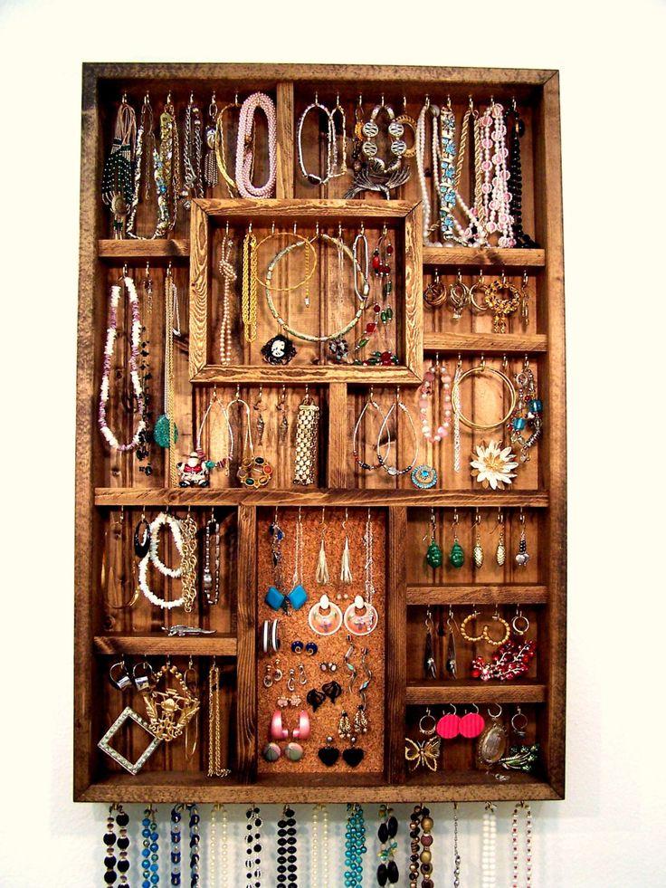 homemade jewelry organizer   Jewelry Organizer Earring Holder Handmade by barbwireandbarnwood
