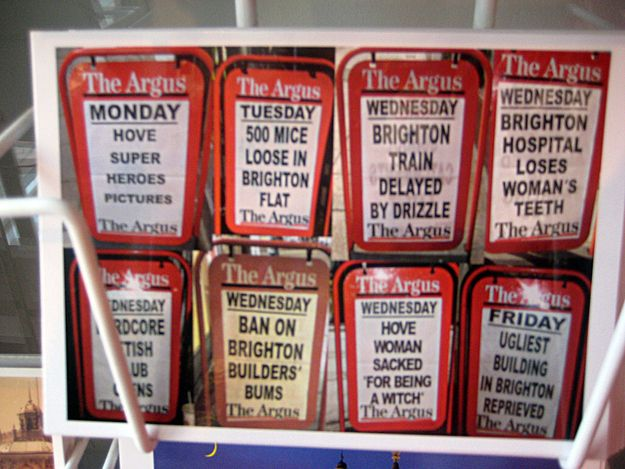 The local newspaper for Brighton & Hove is The Argus. Postcard of some of their headlines 'The 20 Most Brighton Things To Ever Happen'