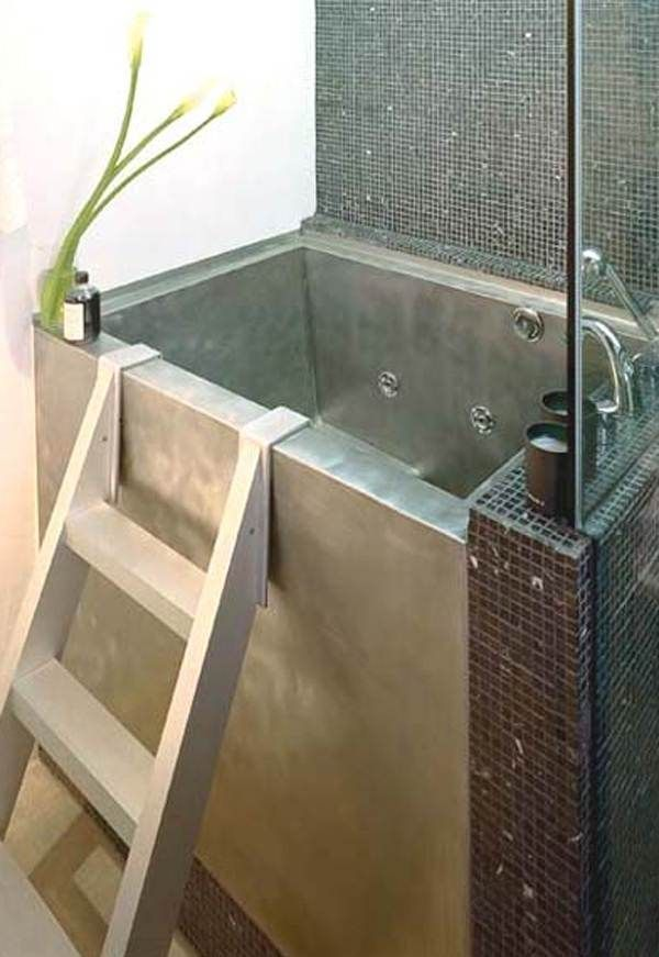 Bathroom Japanese Soaking Tub Small In Silver With Stairs And Impressive Tile On Bathroom Wall