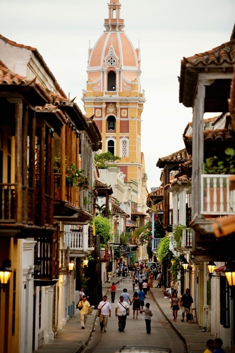 The Cartagena de Indias, Colombia Cathedral, at the end of one of