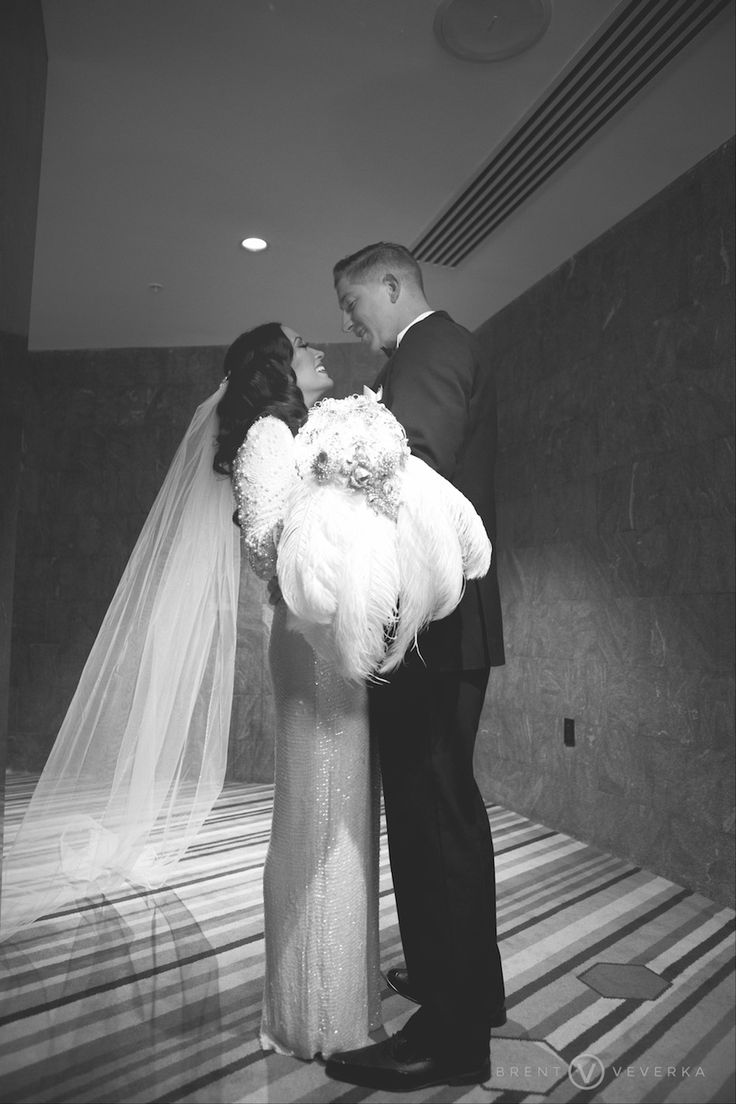 Bride and Groom's First Look | Glam Speakeasy Wedding | Brent Veverka Media