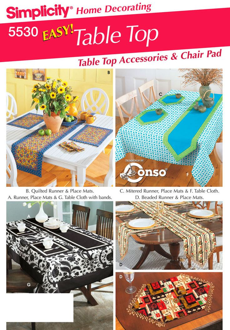 Simplicity Home Decorating sewing pattern 5530 Easy Table Top decoration Accessories and Chair Pads  sc 1 st  Pinterest & 21 best Sewing Wishlist----Home Dec images on Pinterest | Sewing ...