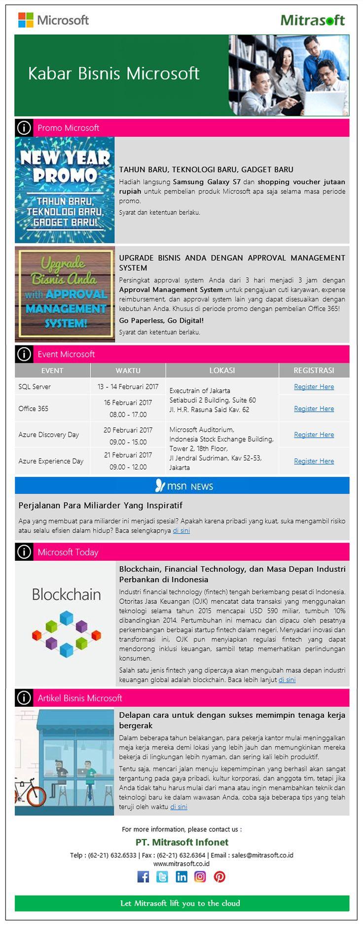 #MitrasoftNews [Promo, Event, Artikel] Kabar Bisnis #Microsoft (Januari 2017) Like us: https://www.facebook.com/pt.mitrasoft.infonet Follow us: https://twitter.com/Mitrasoft_PT https://www.linkedin.com/company/mitrasoft-infonet