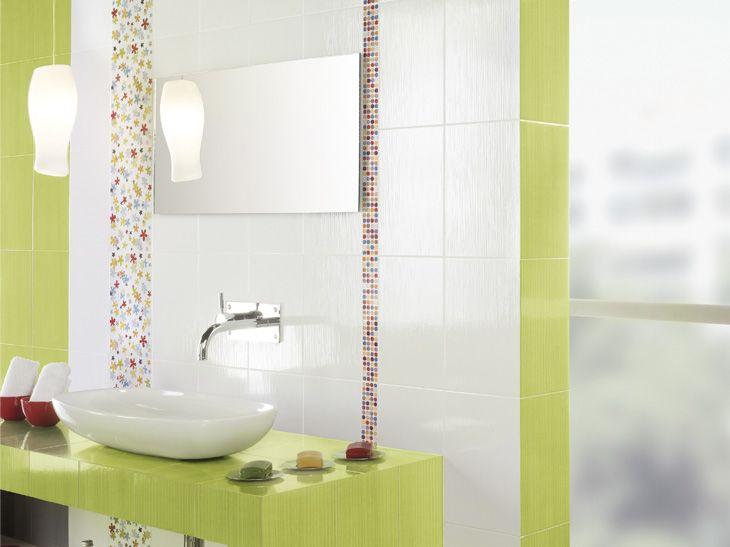 Du carrelage au format rectangulaire pour allonger la pièce. Réf. : carrelage mural colors pistache