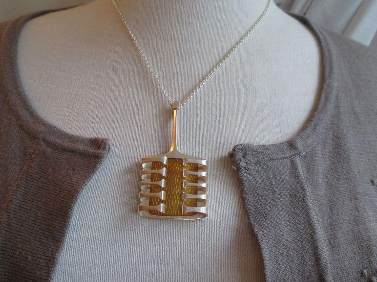 Yellow silver enamel pendant