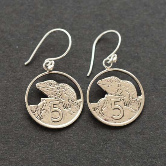 NZ 5c Tuatara Earrings - Jewellery - Kiwiana & NZ Gift Shop