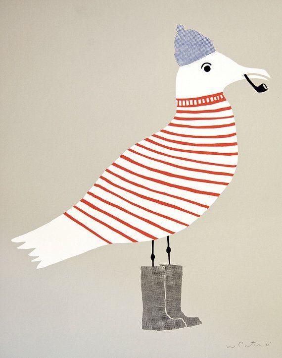 Seagull Illustration Print // for Nursery or Kid's bedroom // By Wayne Pate
