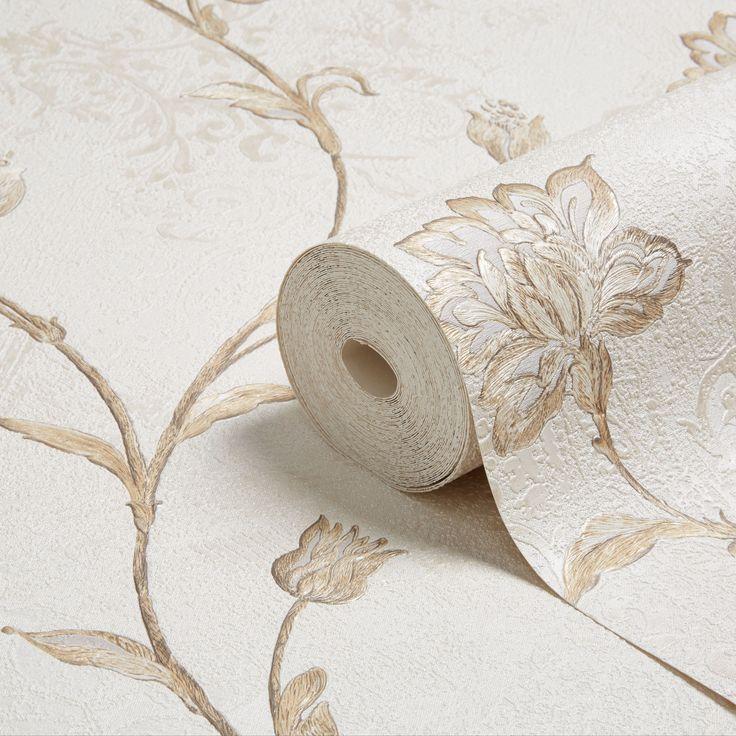 Opus Roselea Soft Grey Floral Trail Wallpaper | Departments | DIY at B&Q
