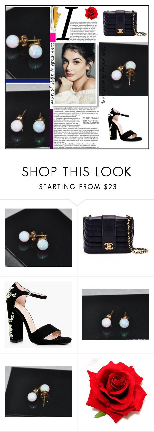 """""""6mm Ball Stud Post earrings, Opal Earrings, Gold Earrings"""" by jewelrybyirina ❤ liked on Polyvore featuring Chanel, Boohoo and Converse"""