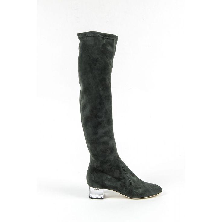 Versace 19.69 Abbigliamento Sportivo Srl Milano Italia Womens High Boot 3123667 CAMOSCIO VERDE FERMO