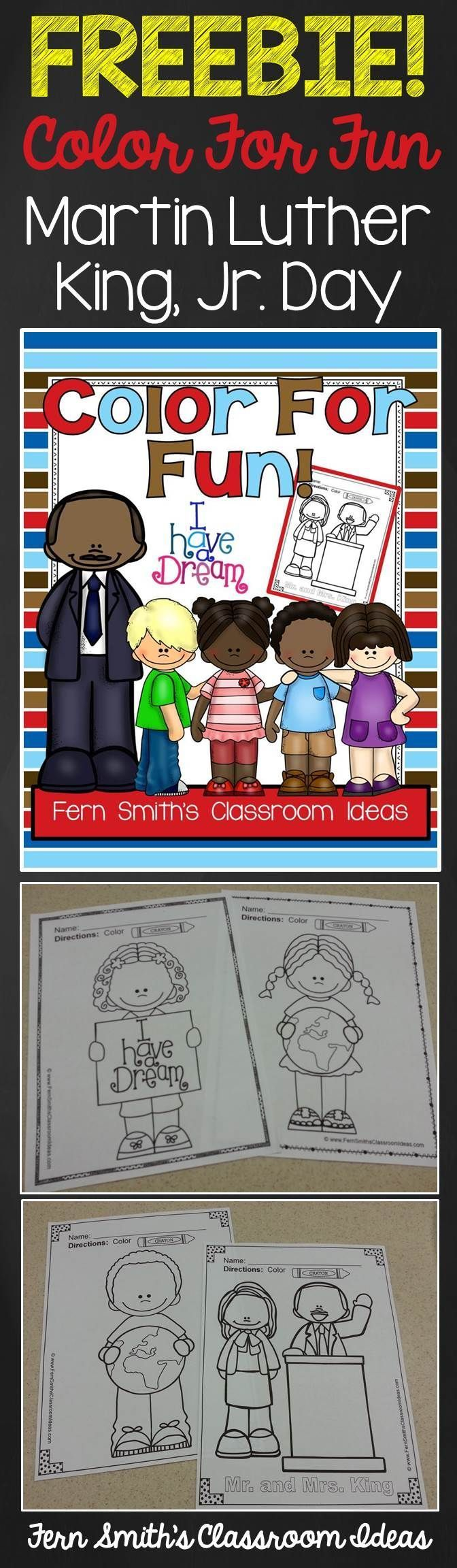 FREE Martin Luther King Jr Color For Fun Printable Coloring Pages Freebie