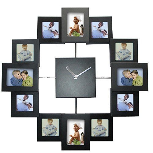 Unique large wall clocks are an easy way to bring life to a boring space.  In fact large modern wall clocks are extremely popular right now as not only do they look timeless but also serve as large decorative wall art!    Wall Clock Modern Design Photo Frame Clock 12 Pictures Large Decorative Metal Living Room Art Decor Horloge Murale (Black)