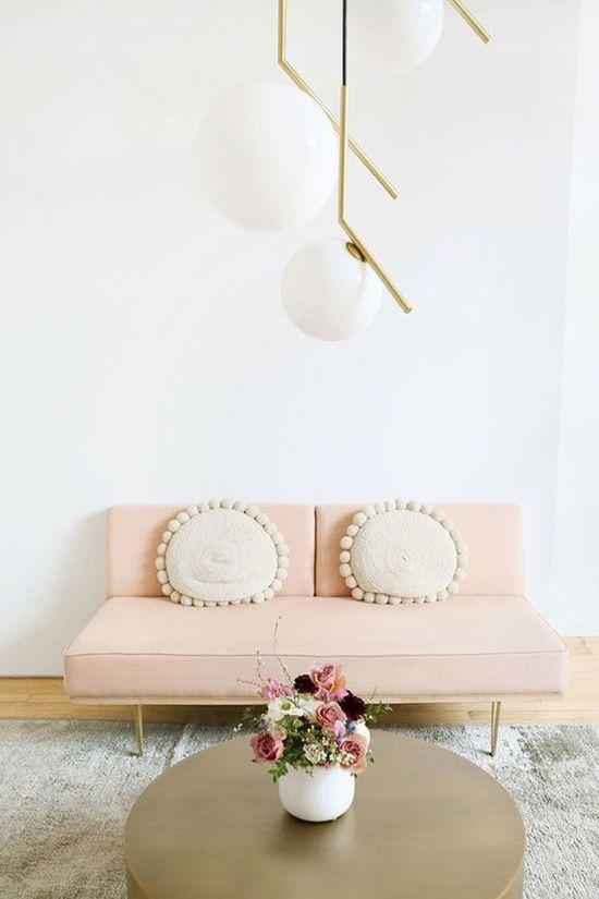 pendant lights & beautiful couch | designlovefest