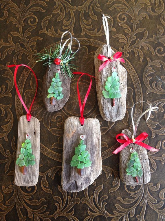 Green Sea Glass Driftwood Holiday Christmas Tree Ornament