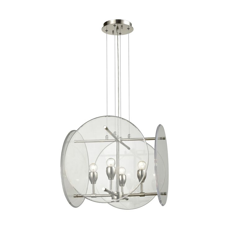 Elk Disco 4 Light Chandelier In Polished Nickel With Clear Acrylic Panels Chandelier item number 32322/4