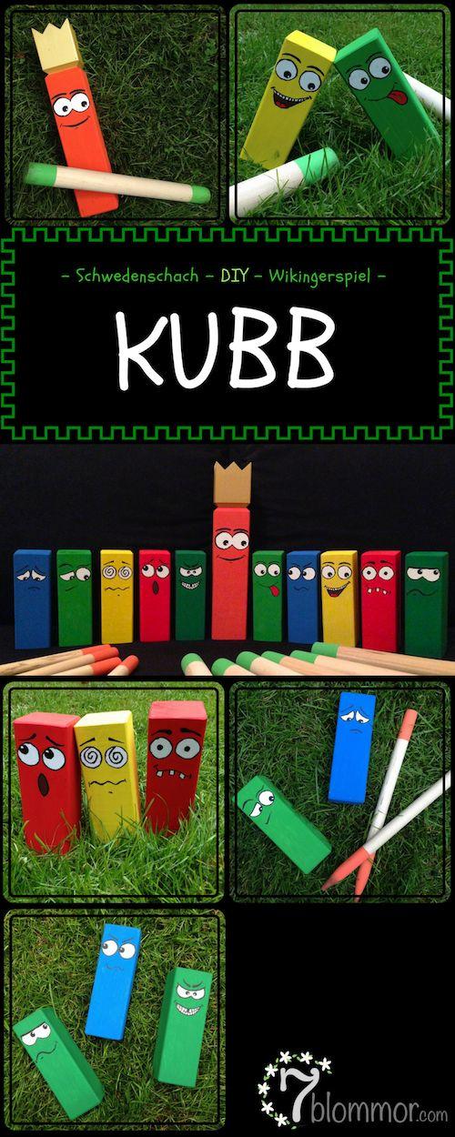 Kubb (oder Schwedenschach, Wikingerspiel, ...) ist das perfekte Outdoorspiel mit der Familie oder Freunden. Um dem ganzen noch eine persönlichere Note zu verleihen, male die Kubbs bunt an.