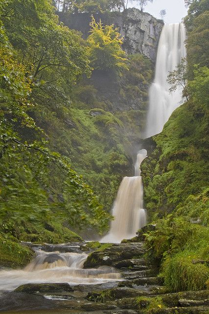 Pistyll Rhaeadr  The highest waterfall in the Wales & England. 240 feet in total.