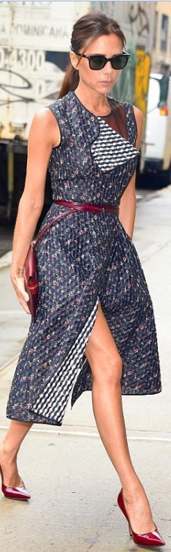 Who made Victoria Beckham's blue floral stripe dress, black sunglasses, and red clutch handbag that she wore in New York? Dress, sunglasses, and purse – Victoria Beckham Collection