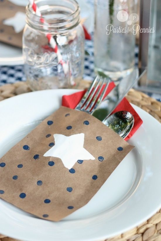 could use scrapbook paper for silverware sleeves to match any party.  Very festive!