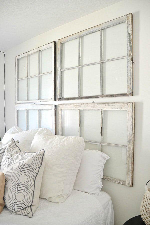 Final \u0027NC Home\u0027 Tour - Middle Guest Bedroom. Headboard IdeasWindow ... & Best 25+ Old window headboard ideas on Pinterest | Window pane ... Pezcame.Com