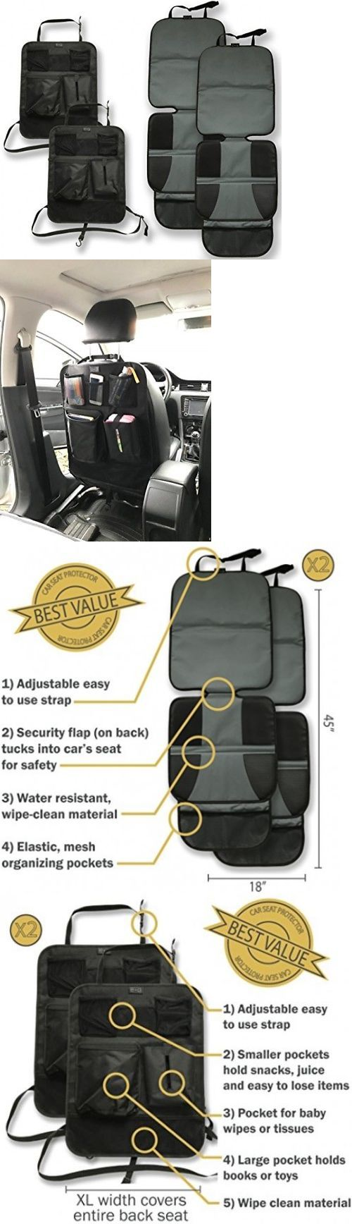 Car Seat Accessories 66693: Car Seat Protector And Kick Mat Car Back Seat Cover (4 Pack) - 2 Sets Of Car - -> BUY IT NOW ONLY: $47.61 on eBay!