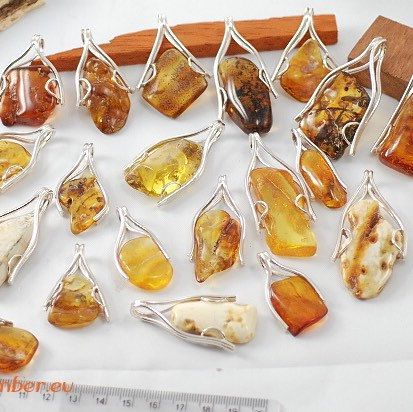 Pendants made of Amber ans silver sterling 925. Handmade for sale