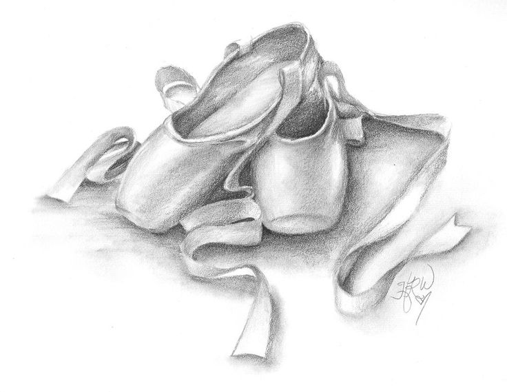 Second in a series of drawings of ballet slippers. Drawn with graphite pencils from a photograph I took myself.