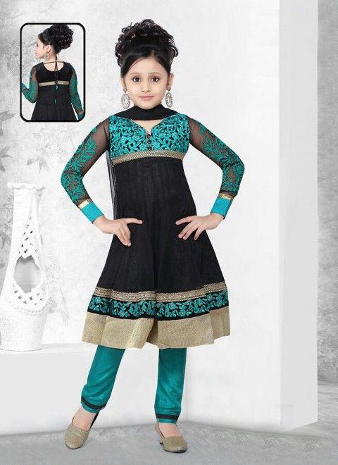 Black Georgette Readymade Kids Salwar Kameez