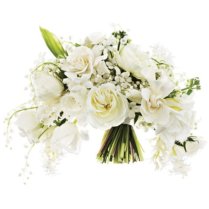 White wedding bouquet of garden roses, gardenias, tulips, stephanotises, hyacinths, tweedia, and lilies of the valley