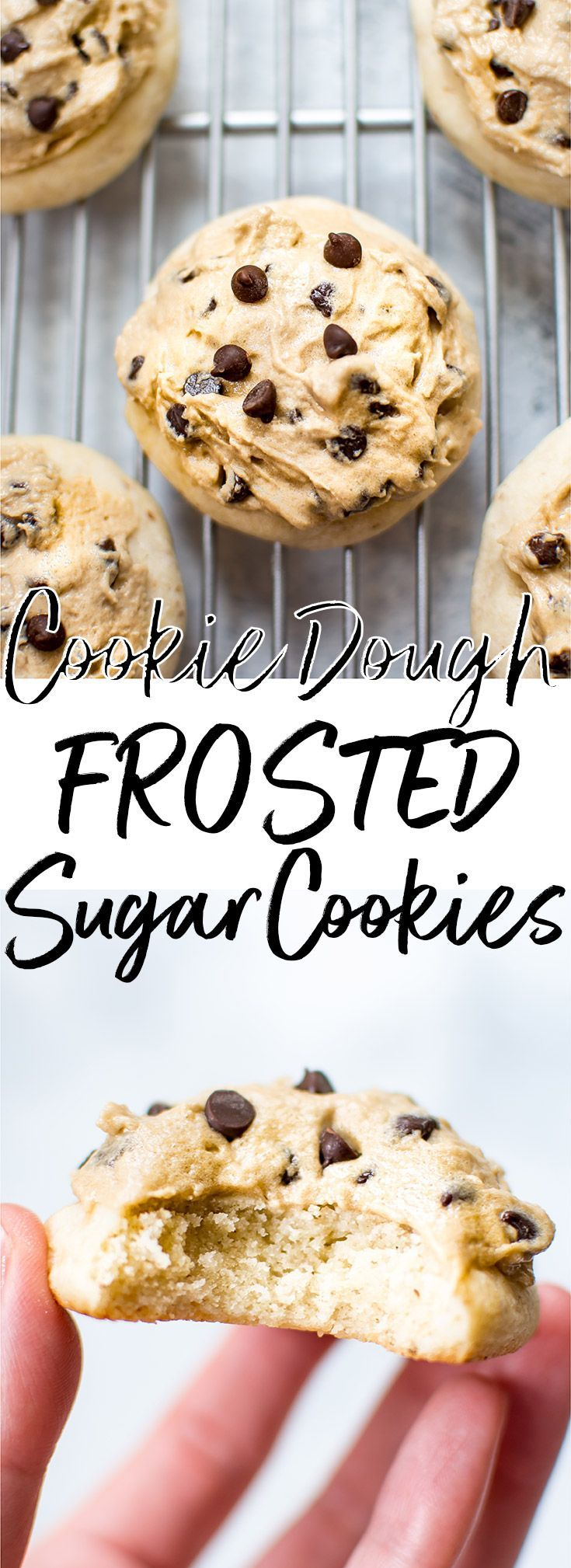 Soft, no-chill vegan sugar cookies frosted with vegan chocolate chip cookie dough icing! Easy and delicious.