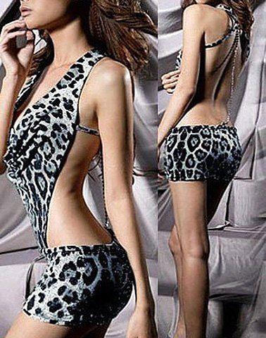 Sexy Women's Halter Leopard Print Dress