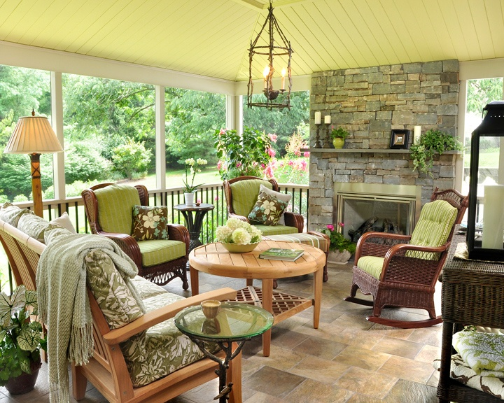 Cozy Outdoor Space With Stone Fireplace Outdoor Spaces