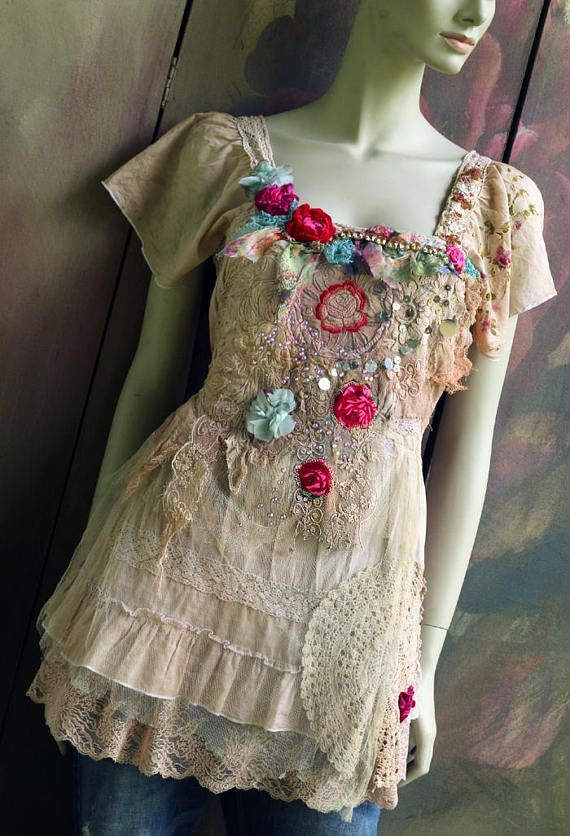 Crimson rose top shabby chic whimsy bohemian top vintage