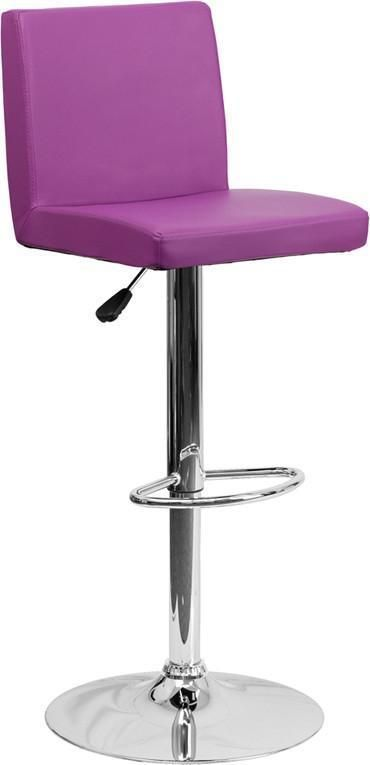Flash Furniture CH-92066-PUR-GG Contemporary Purple Vinyl Adjustable Height Bar Stool with Chrome Base
