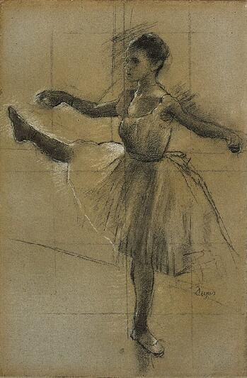 Edgar Degas (1834-1917)  Dancer (Battement in Second Position), 1874.   Charcoal heightened with white and pale yellow chalk on paper.
