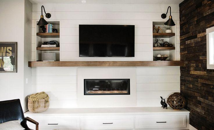 17 best ideas about modern fireplace mantles on pinterest for Modern farmhouse fireplace