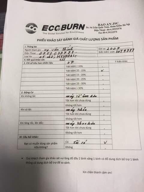 Ecoburn xử lý muội than-carbon trong buồng đốt động cơ 100%