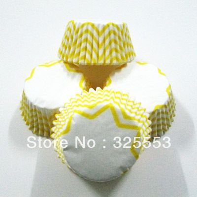 100pcs Yellow Chevron cupcake liners paper cup decoration #Affiliate