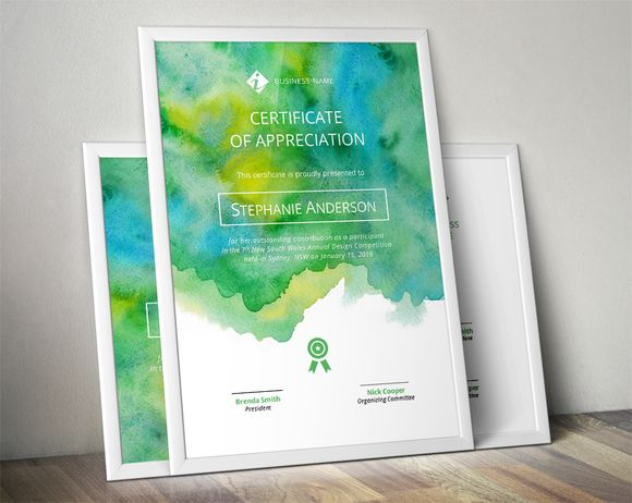 Watercolour certificate template by Inkpower on @creativemarket