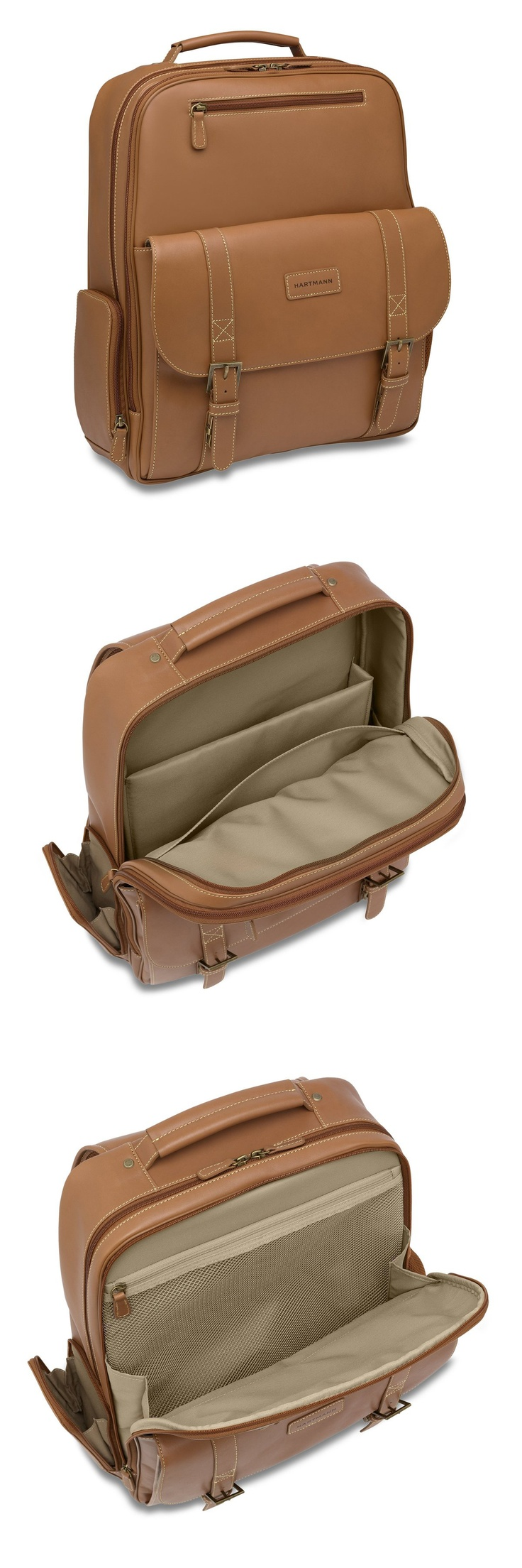 J Hartmann Reserve Saddle Backpack      Equal parts business, travel, and business travel, our new belting leather Saddle Backpack features an elastic mesh pocket and a large, unobstructed packing space in the middle compartment; a padded laptop sleeve in the rear; and an organizational panel for business cards, pens, and smart phone in the front—all lined in water and stain resistant textured fabric. http://bit.ly/JVlRNl