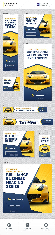 Car Technology Banners Template PSD