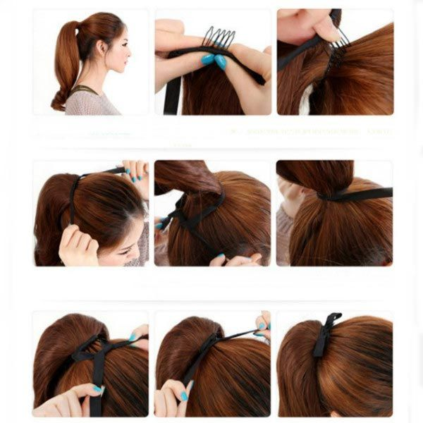 Colorful Long Straight Ponytail Extension Wig - US$6.03