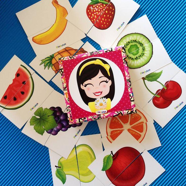 """""""Pia Polya İki Parçalı Meyve Görsellerini Tamamlama Kartları"""" 18 ay ve 28 ay yaş arası çocuklar için uygundur."""