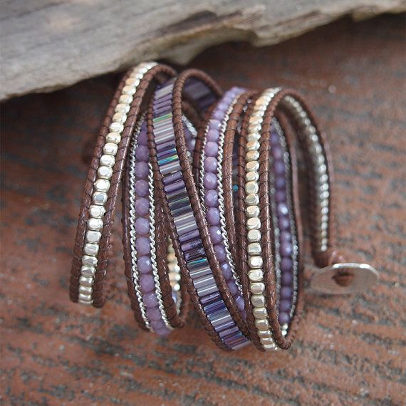 Purple mix beaded Wrap bracelet Bohemian bracelet by G2Fdesign