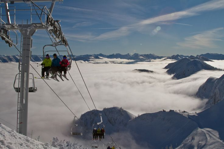 A breathtaking ride above a cloud inversion on our highest chair lift to Polar Peak.
